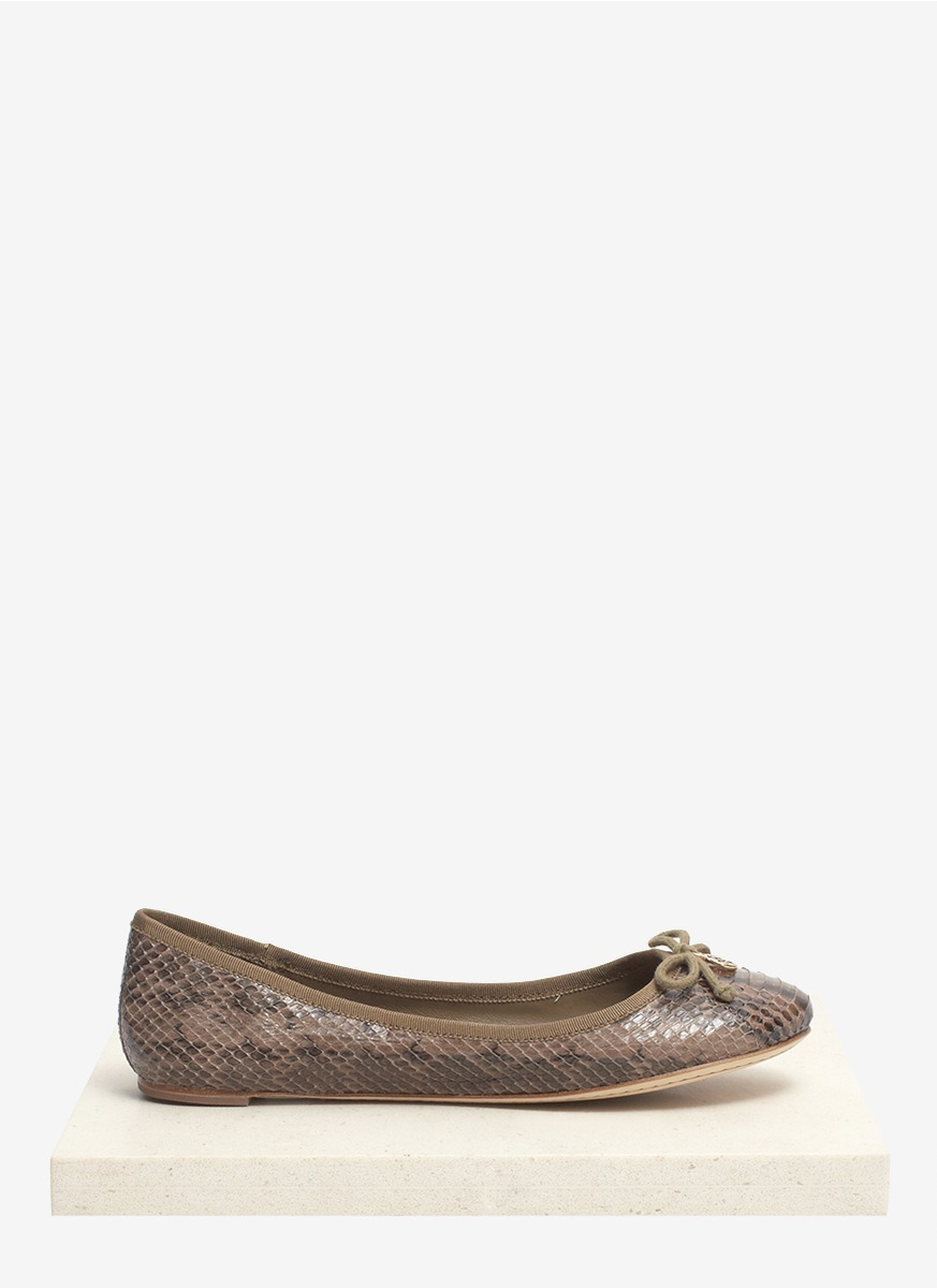 tory burch chelsea water snake leather ballerina flats in brown neutral and brown lyst. Black Bedroom Furniture Sets. Home Design Ideas