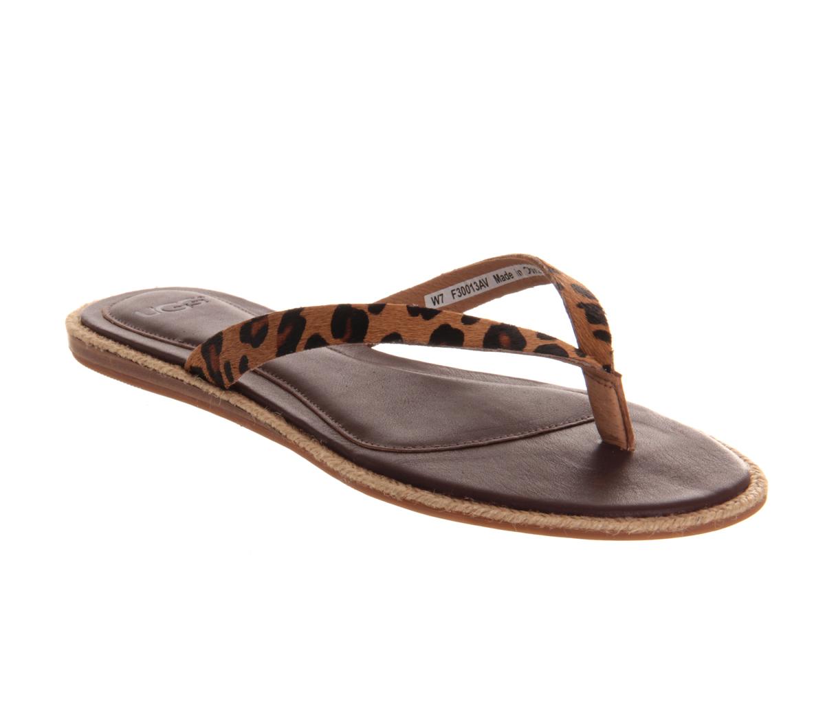 Lyst Ugg Allaria Leopard Flip Flop In Brown