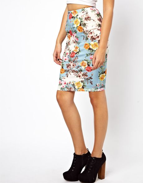 asos exclusive bright floral pencil skirt in floral print
