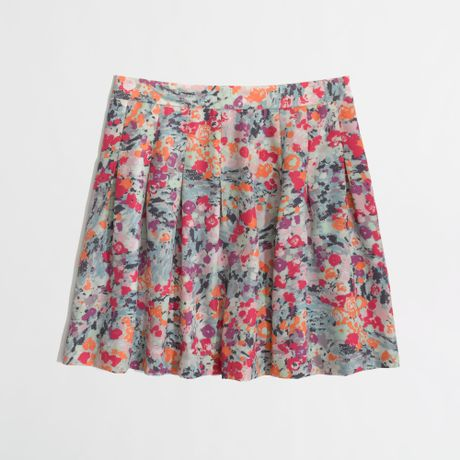 j crew factory printed pleated skirt in pink pink multi