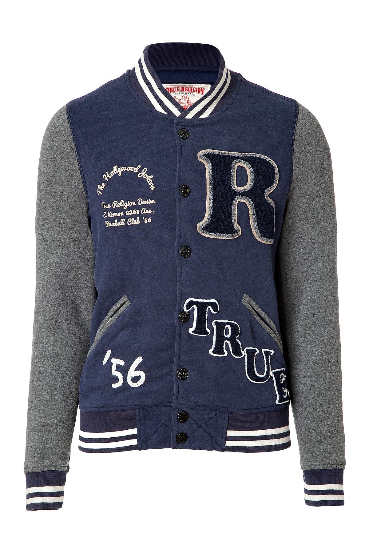 true religion cotton blend baseball jacket in rugby blue. Black Bedroom Furniture Sets. Home Design Ideas