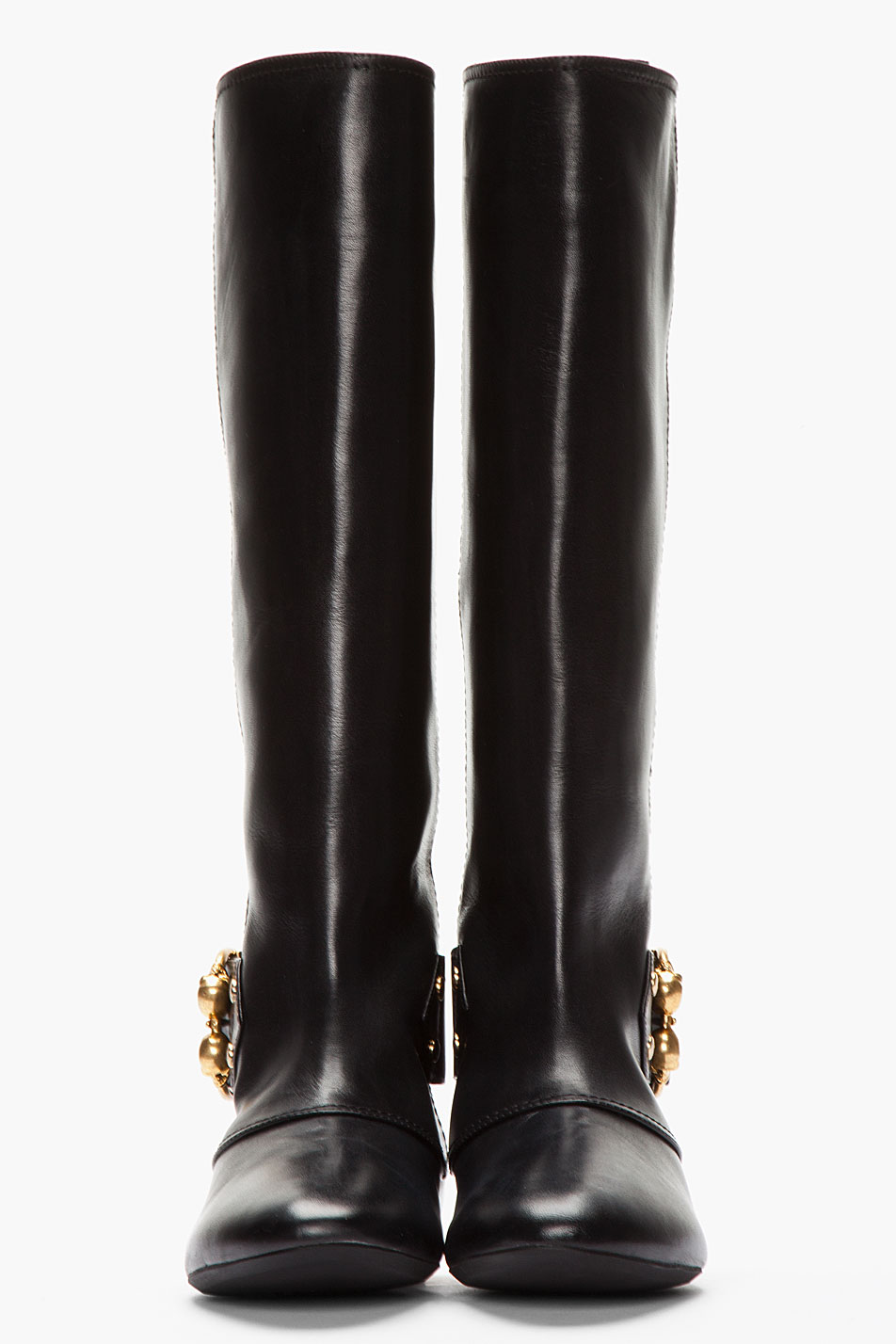 Alexander mcqueen Black Leather Double Skull Riding Boots in Black ...