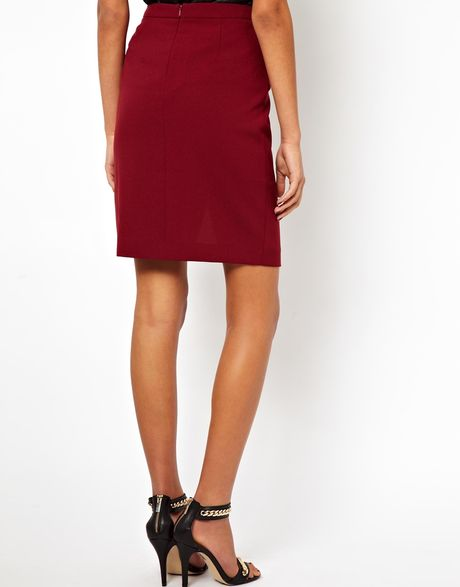 asos pencil skirt with wrap in wine lyst