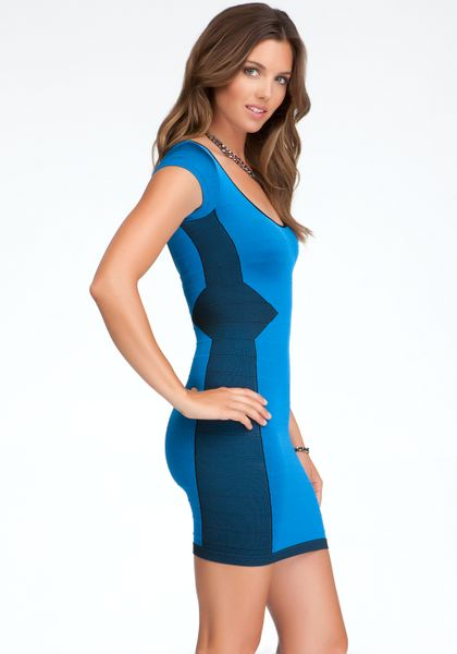 Bebe Outlined Stitch Bodycon Dress In Blue Lyst