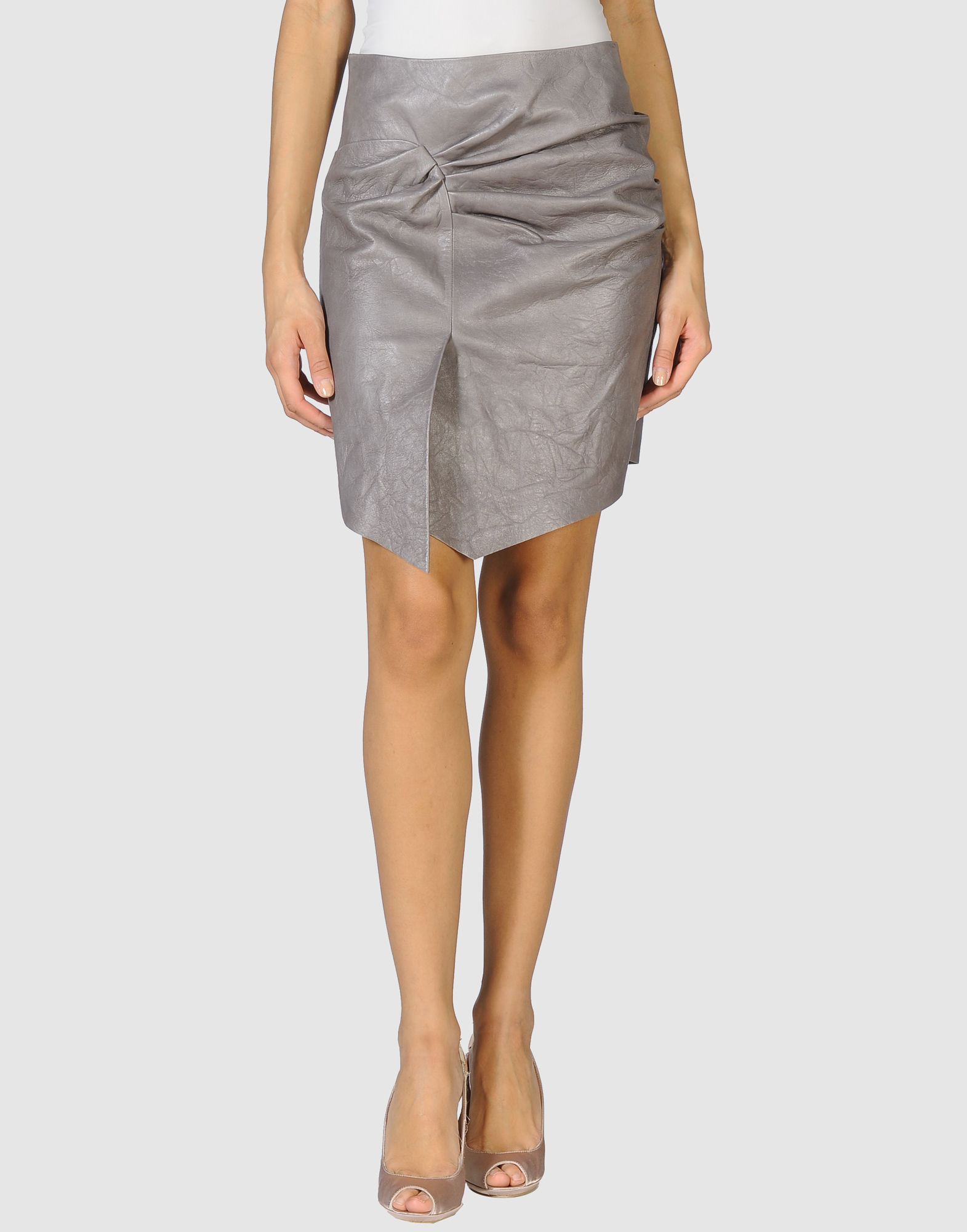 catherine malandrino leather skirt in gray grey save