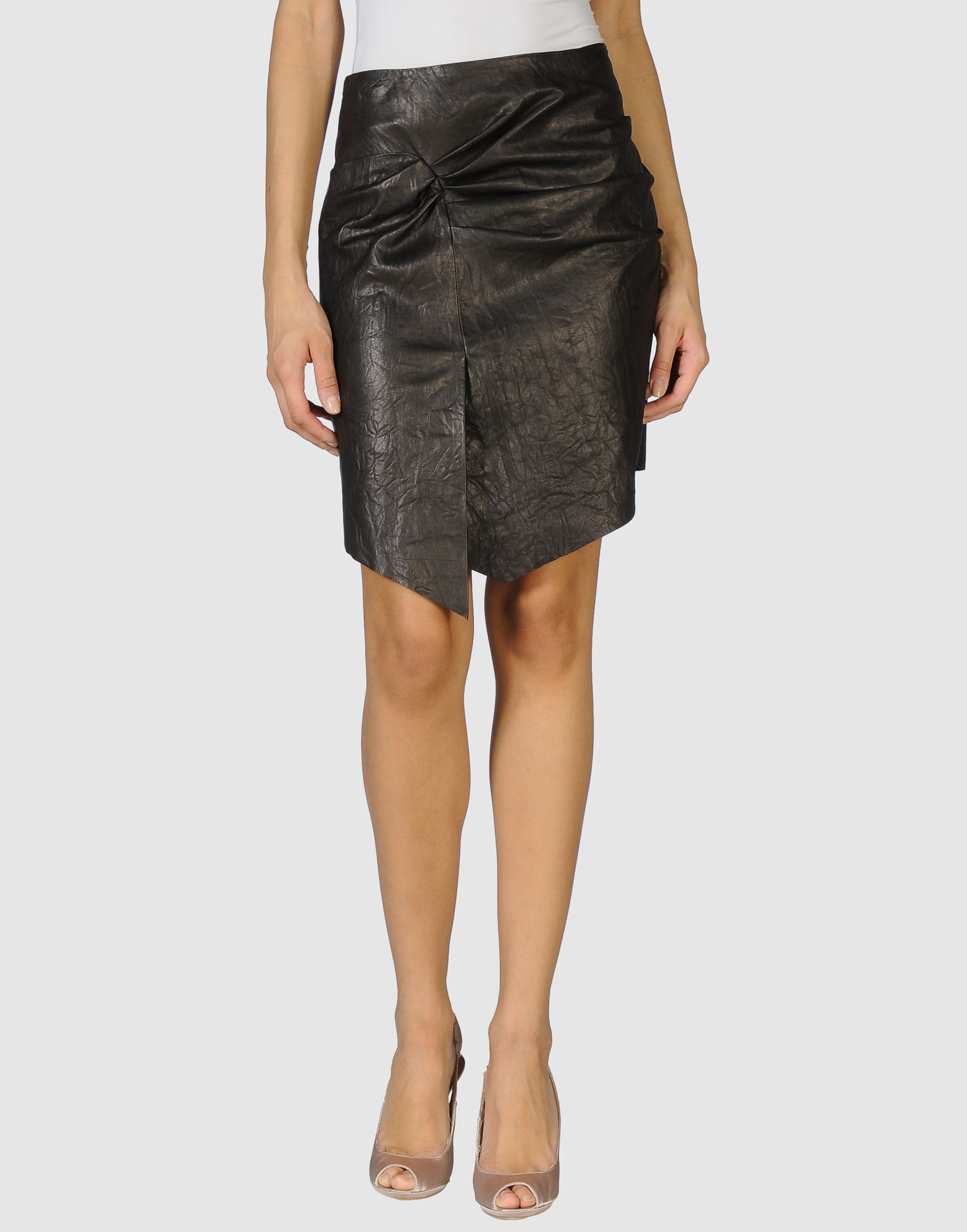 catherine malandrino leather skirt in gray steel grey