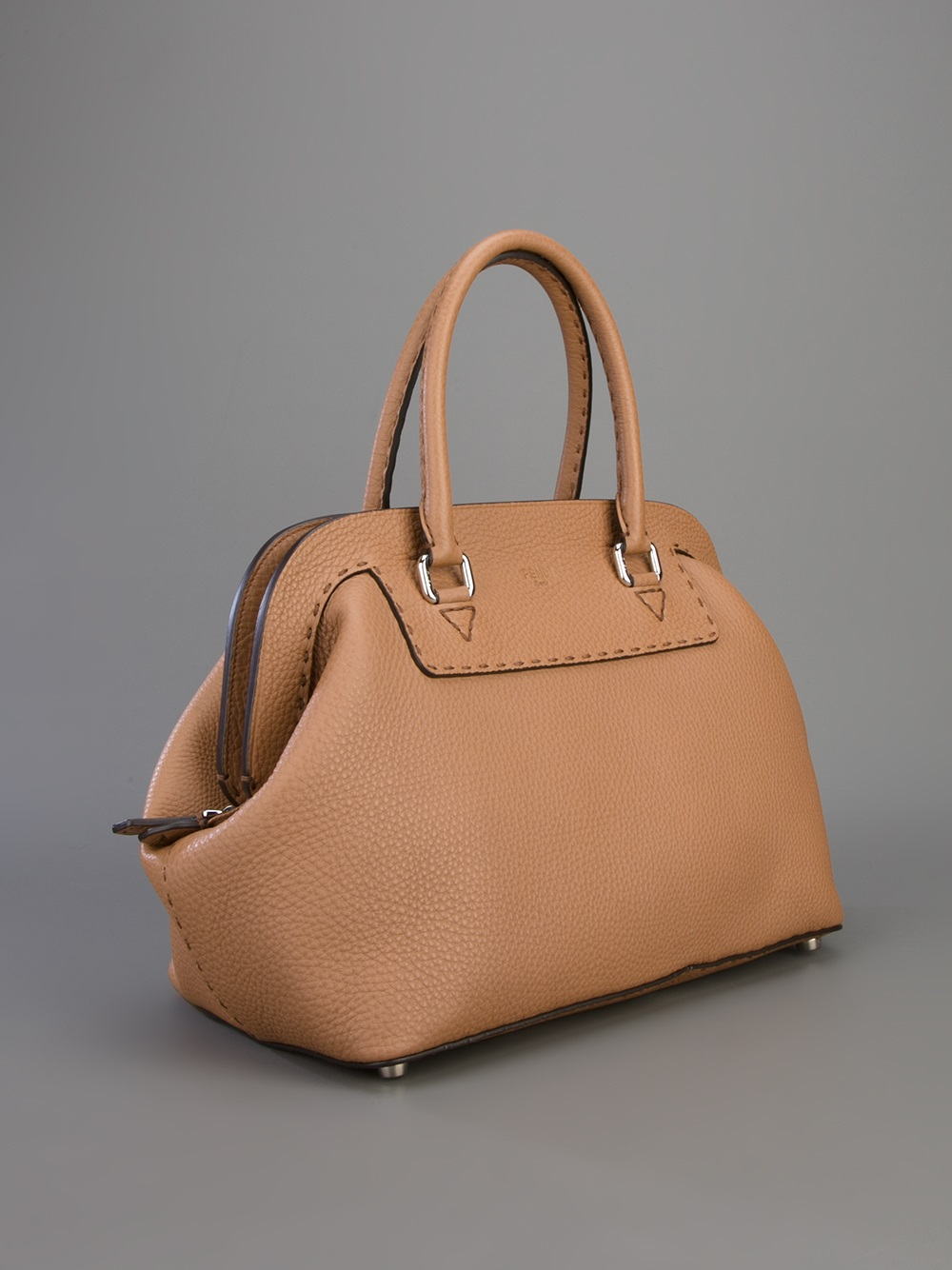 7aabc5509264 Lyst - Fendi Selleria Frame Tote Bag in Brown