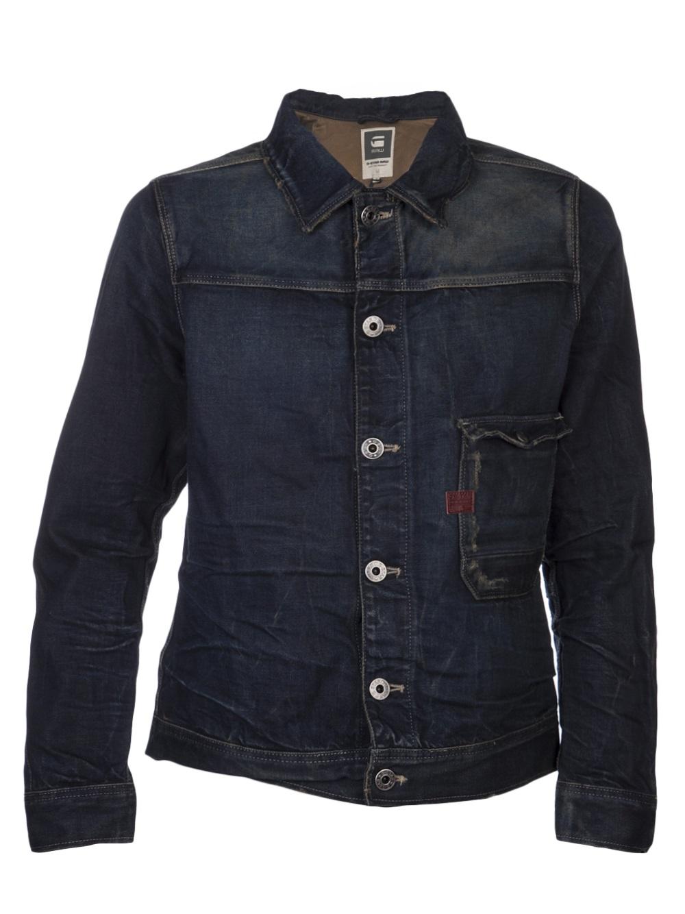 g star raw hunter denim jacket in blue for men denim lyst. Black Bedroom Furniture Sets. Home Design Ideas