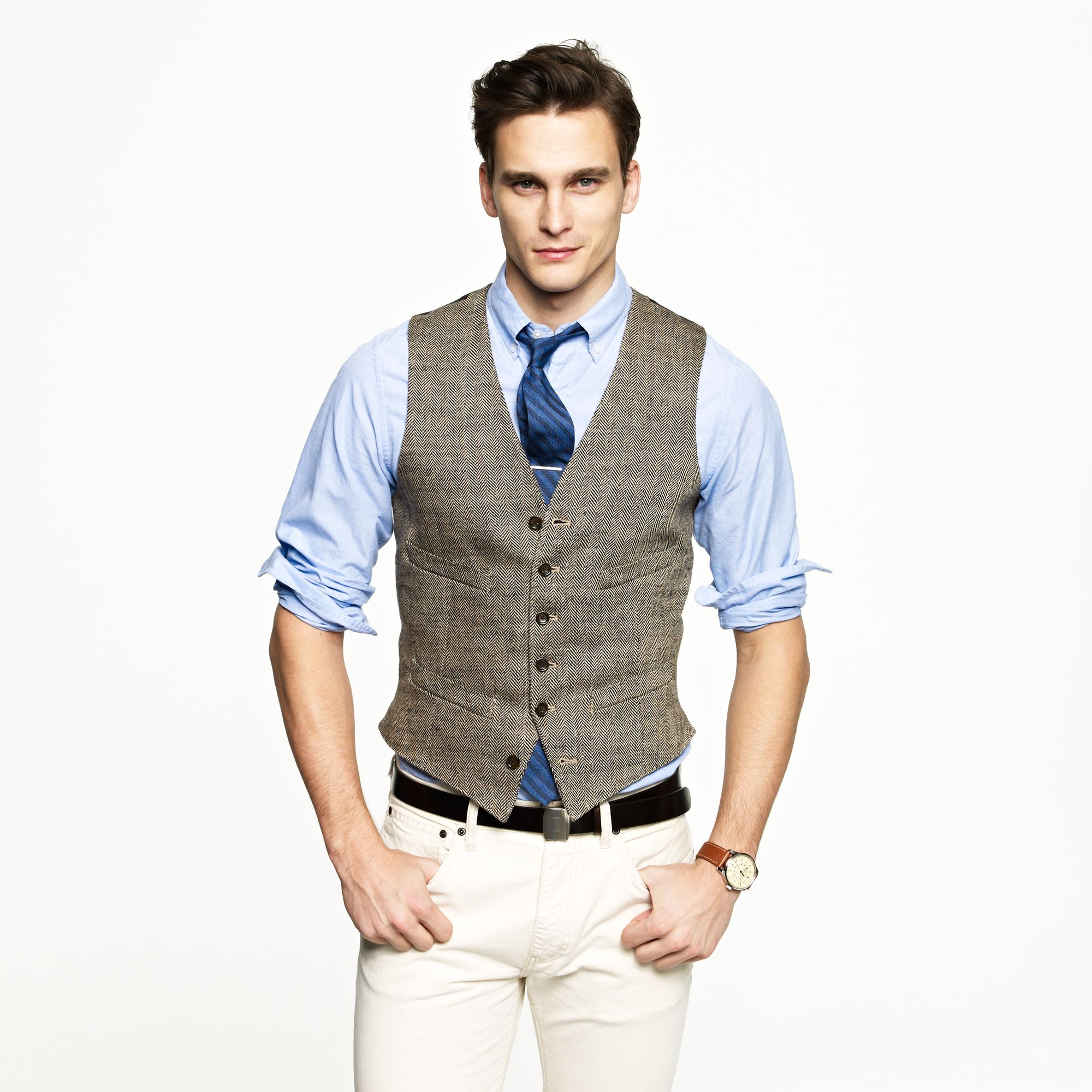 Ludlow vest in herringbone italian linen in natural for J crew mens outfits