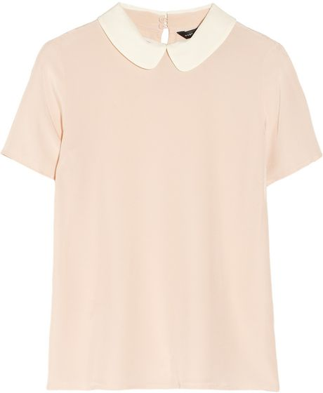 Marc By Marc Jacobs Alex Silk Crepe De Chine Top in Pink (Blush)