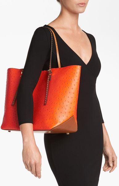 Italy Michael Kors Gia Totes - Bags Michael Kors Gia Ostrich Embossed Leather Tote Extra Large Cinnamon