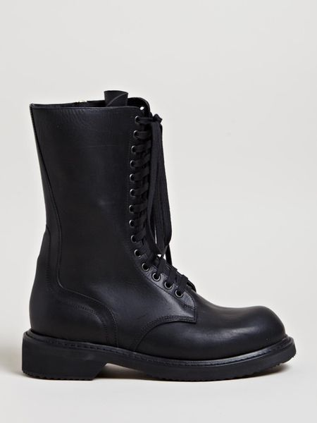 Rick Owens Womens Army Boots in Black