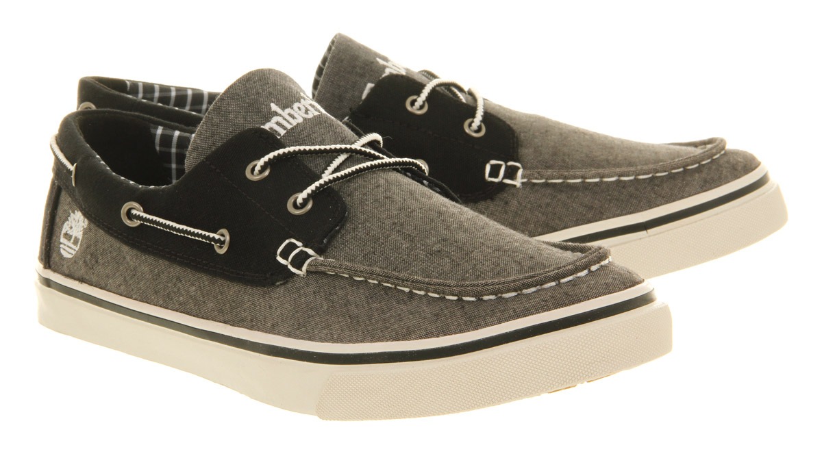 timberland hookset boat shoe in black for lyst