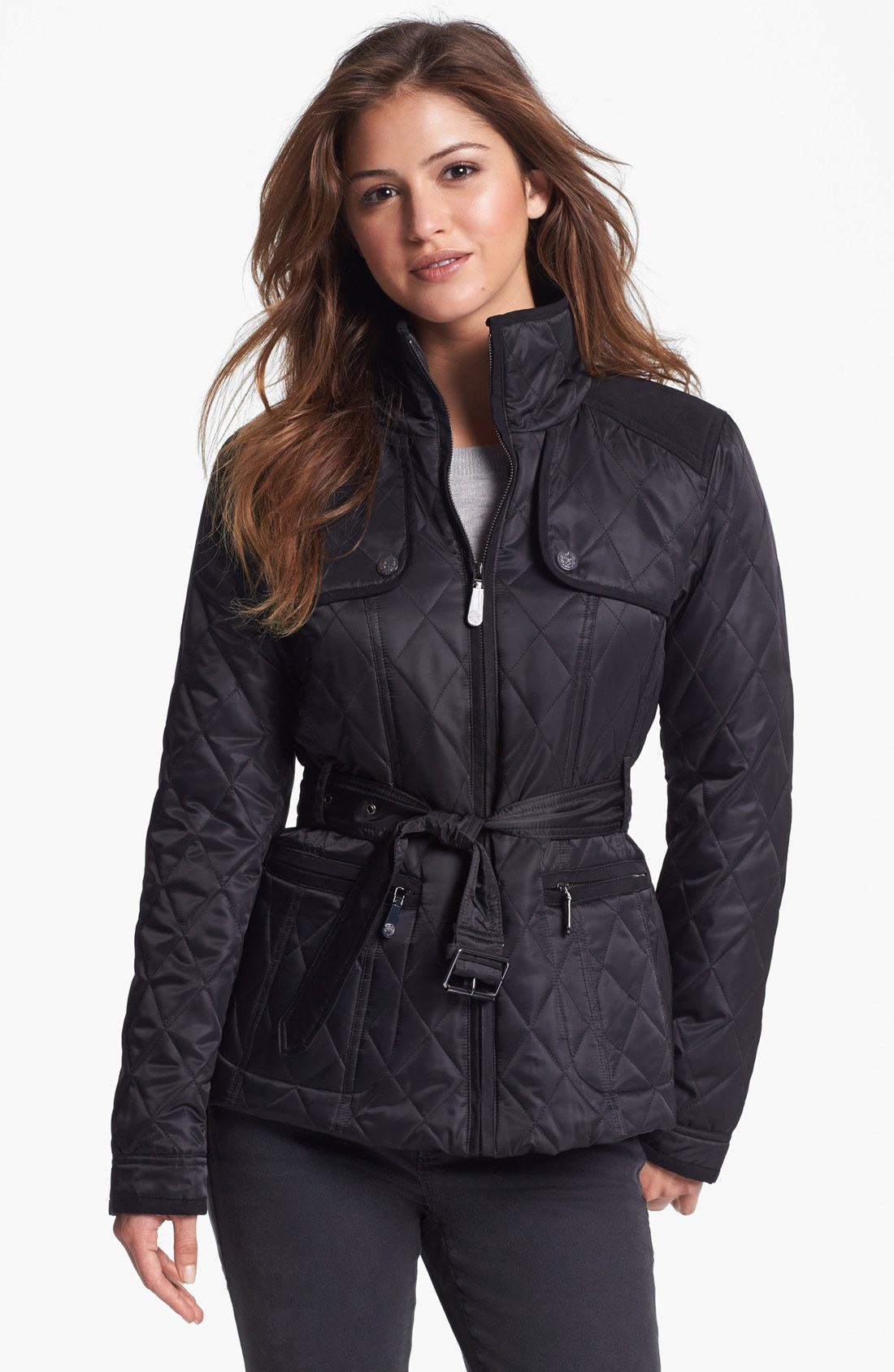 Vince Camuto Quilted Field Jacket In Black Black Black