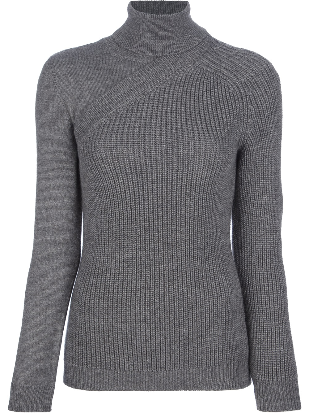 Cedric charlier Roll Neck Ribbed Sweater in Gray | Lyst