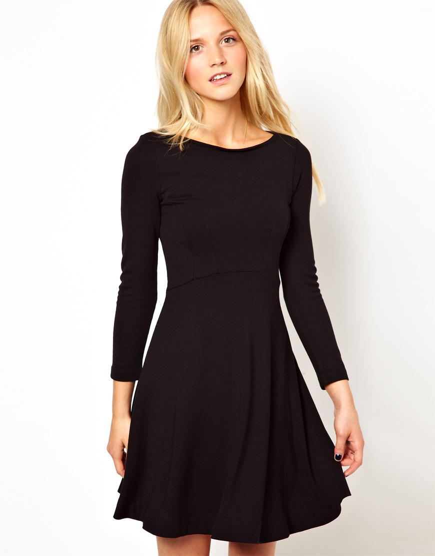Lyst French Connection Skater Dress With Long Sleeves In