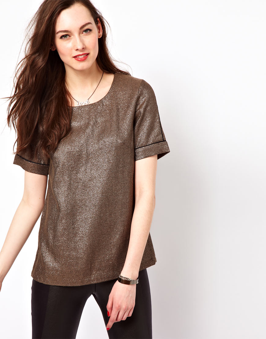 Lyst french connection shimmer tshirt in metallic for French connection t shirt dress