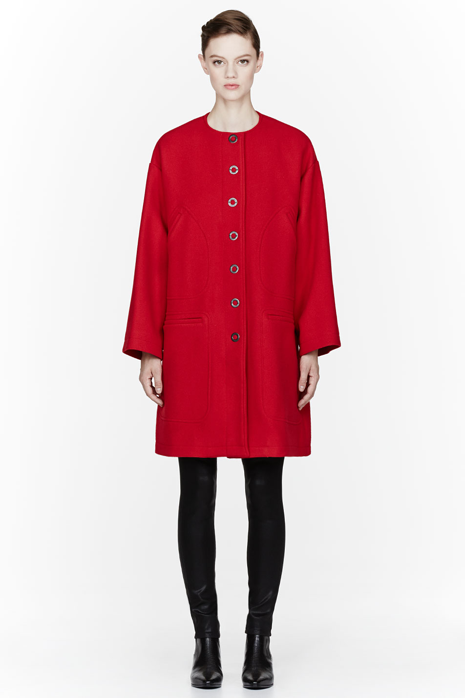 Kenzo Red Oversized Coat in Red | Lyst