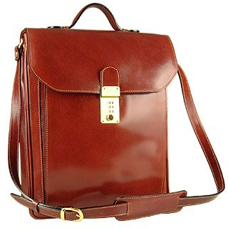 Lyst L A P A Cognac Leather Vertical Briefcase In Brown