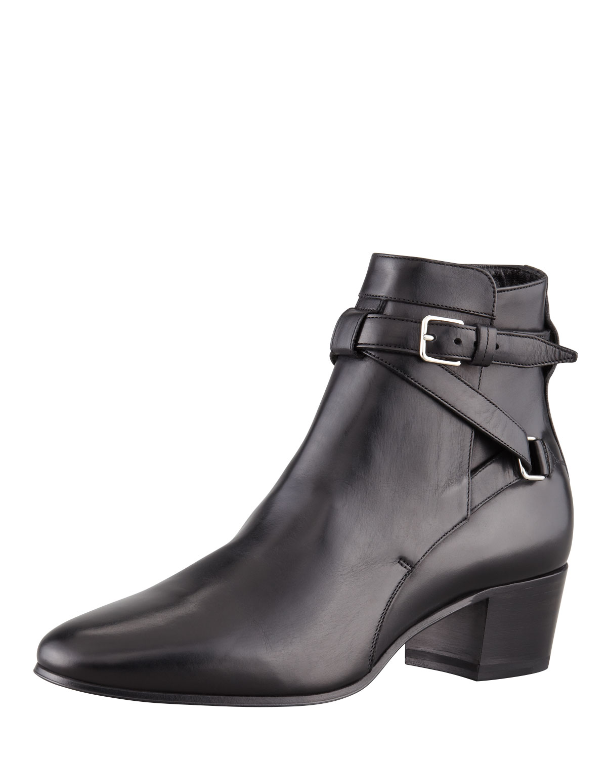 Saint laurent Crisscross Leather Ankle Boot Black in Black | Lyst