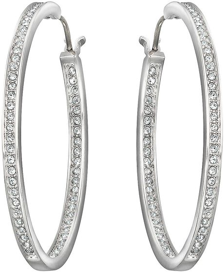 swarovski ready silvertone oval hoop earrings in