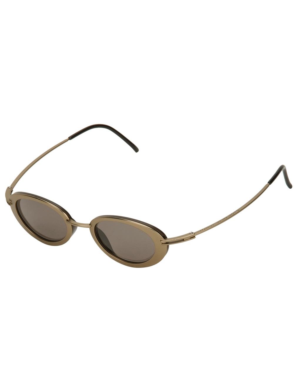 Gold Frame Oval Sunglasses : Yohji Yamamoto Oval Frame Sunglasses in Brown (gold) Lyst