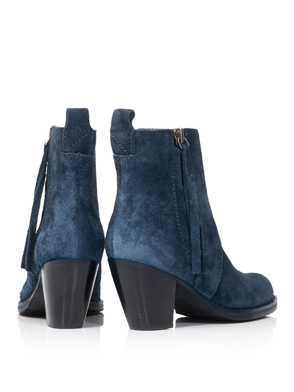 Acne Pistol Suede Ankle Boots in Blue | Lyst