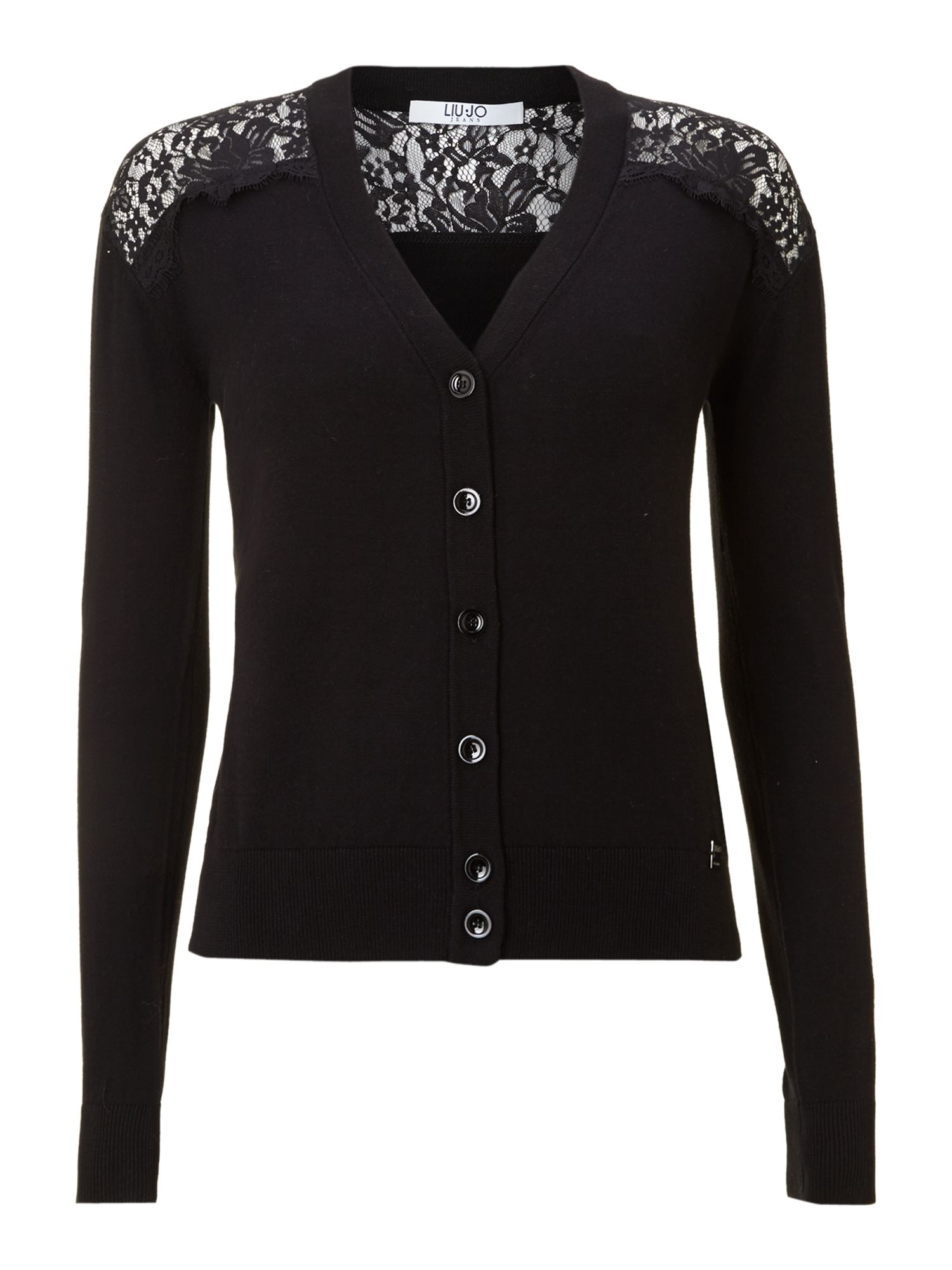 Liu jo Lace Back Button Front Cardigan in Black | Lyst