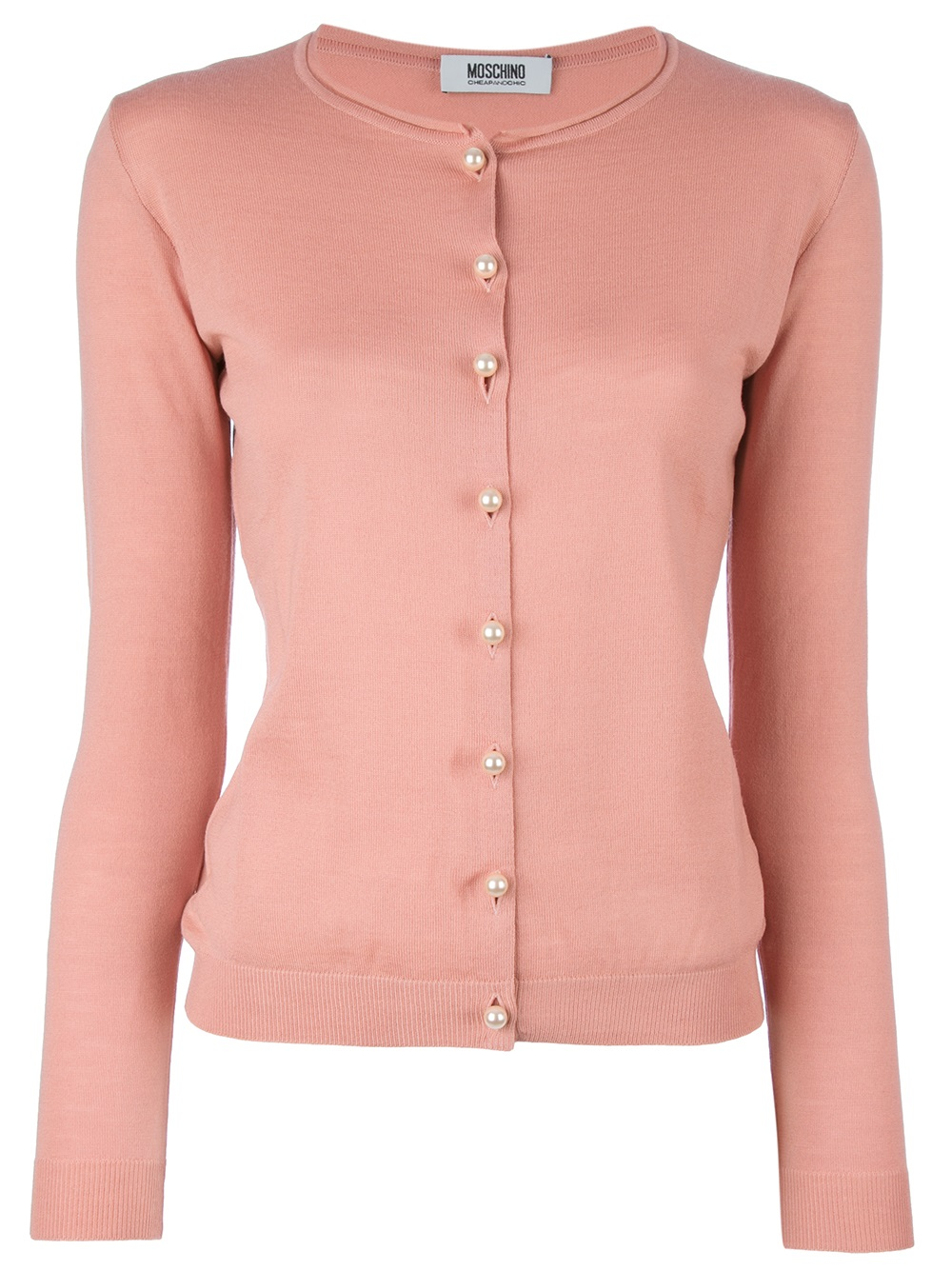 Moschino Cheap Amp Chic Pearl Button Cardigan In Pink Pink
