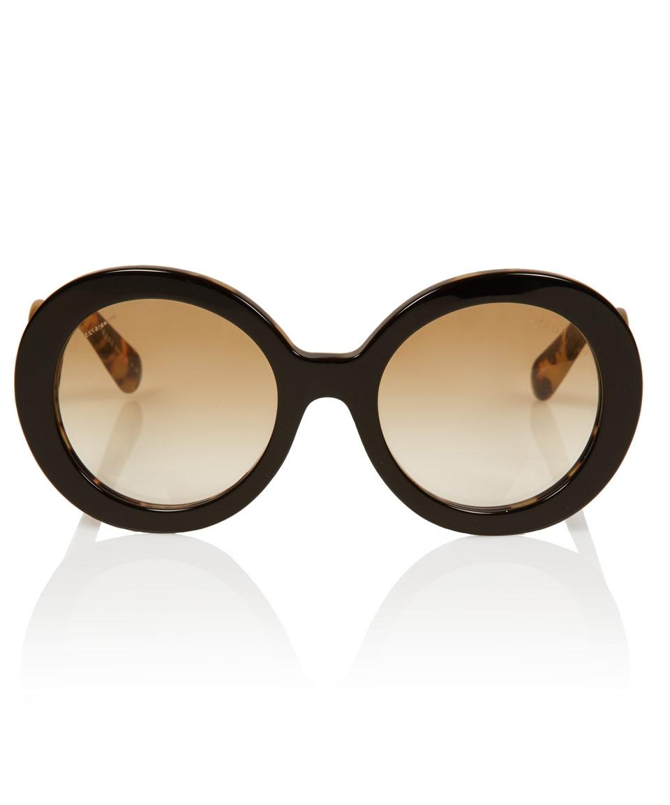 476bb4c96f7 Lyst - Prada Black Tortoiseshell Baroque Round Sunglasses in Black