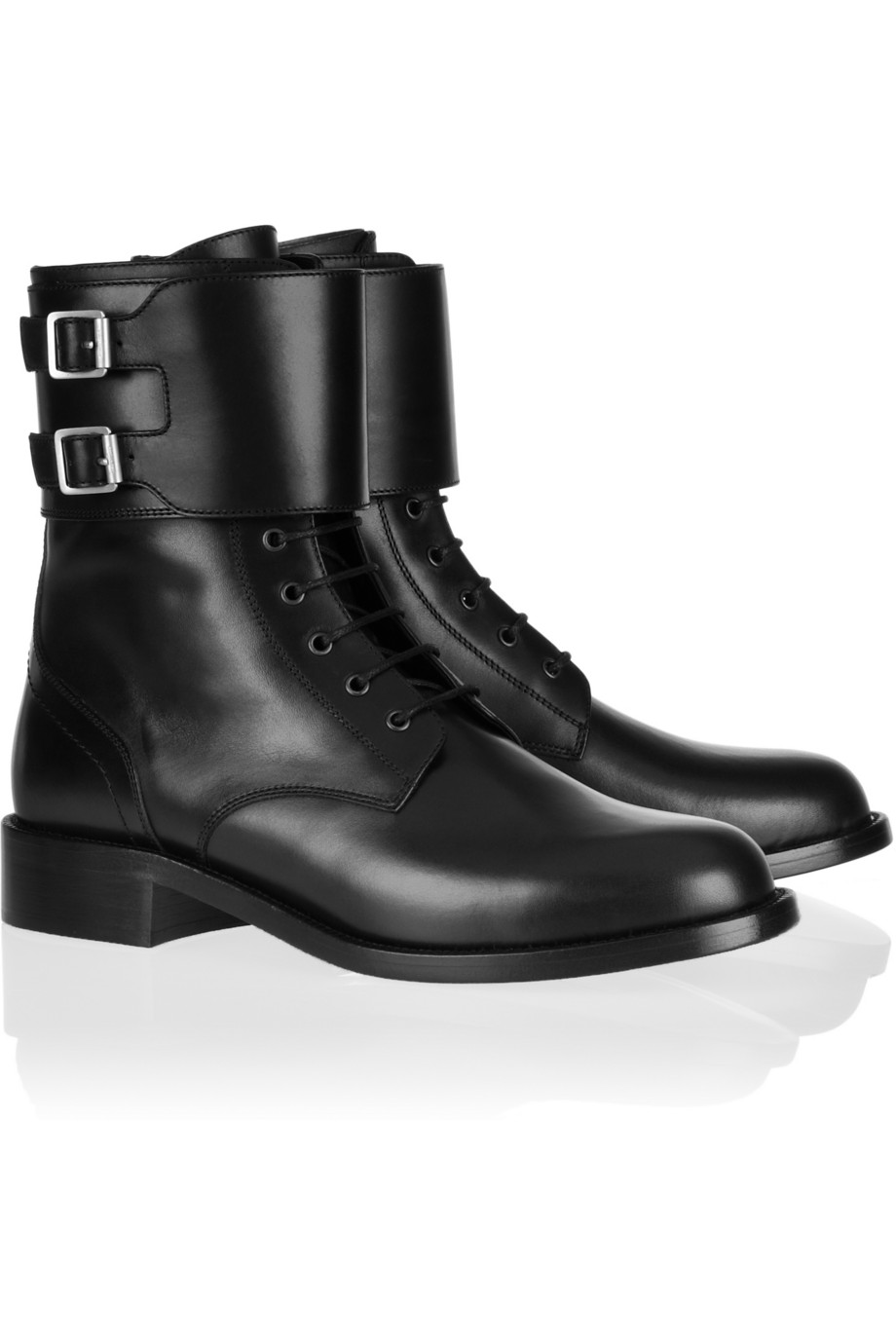 Lanvin Black Leather Low Army Boots