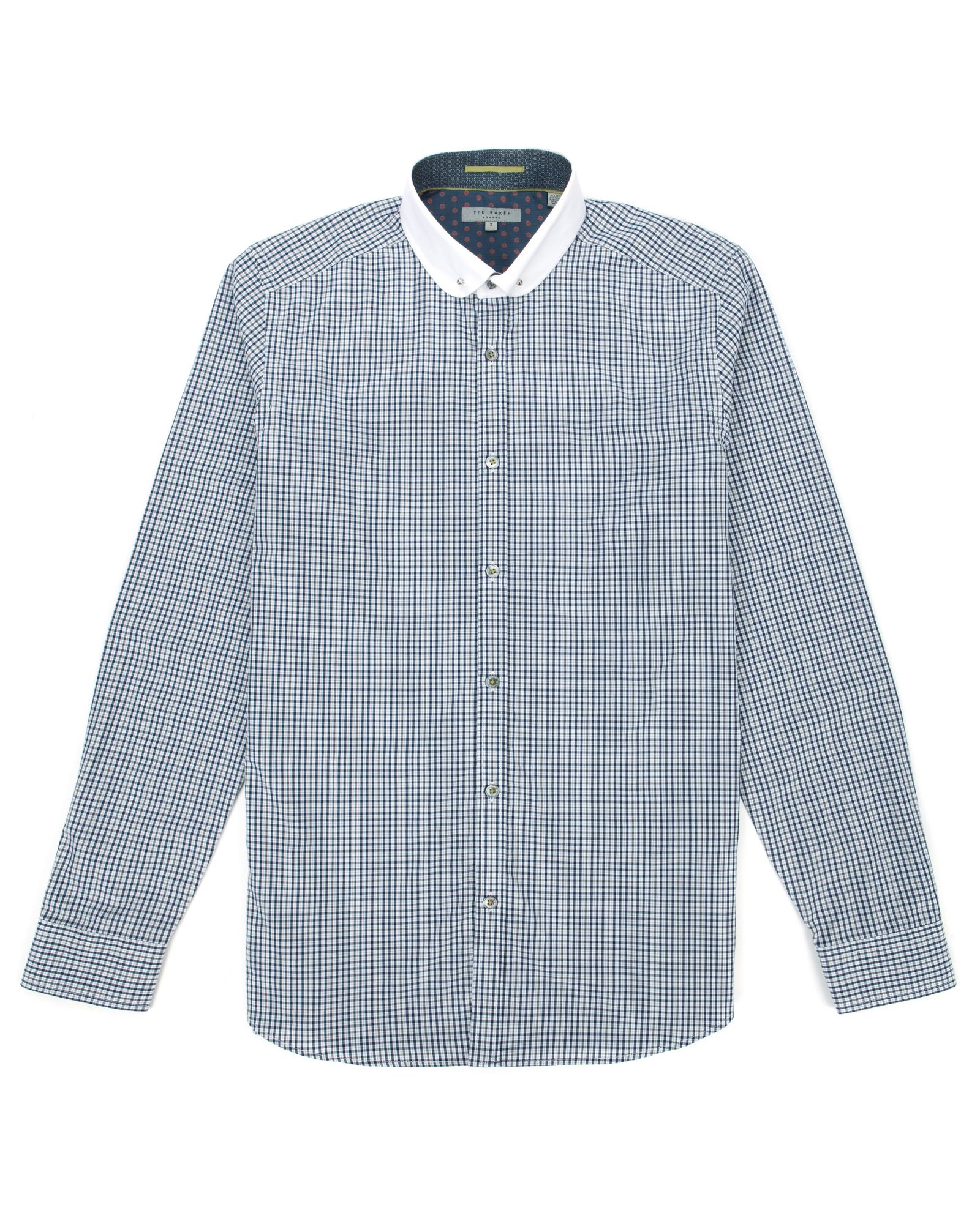 Ted baker blue knomore check round collar shirt for men for Round collar shirt men