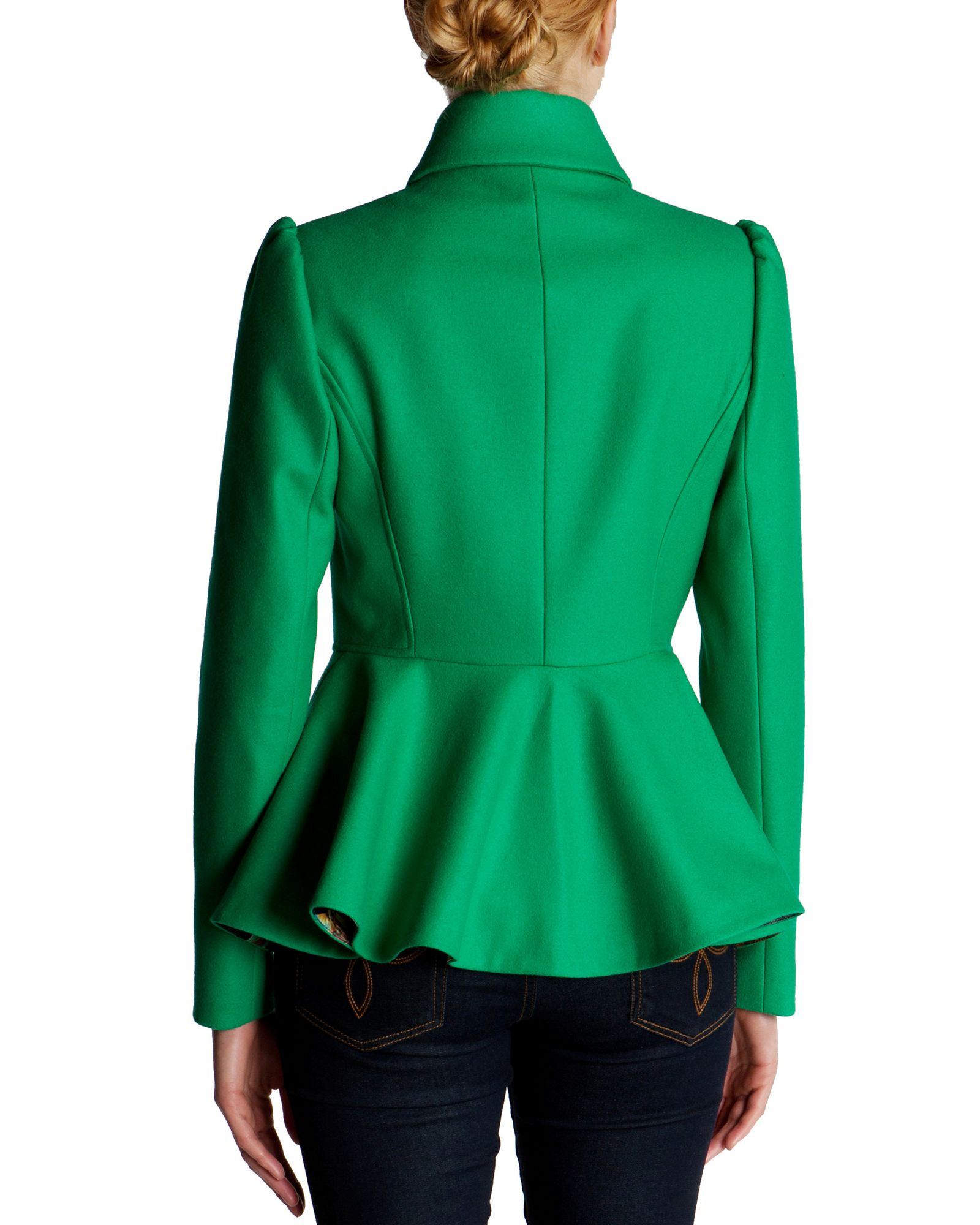 Ted baker Sollel Short Peplum Coat in Green | Lyst