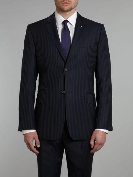 Ted Baker Purple Pinstripe Suit Jacket In Blue For Men
