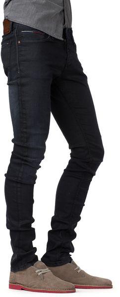 tommy hilfiger sidney super skinny jeans in black for men bethel. Black Bedroom Furniture Sets. Home Design Ideas