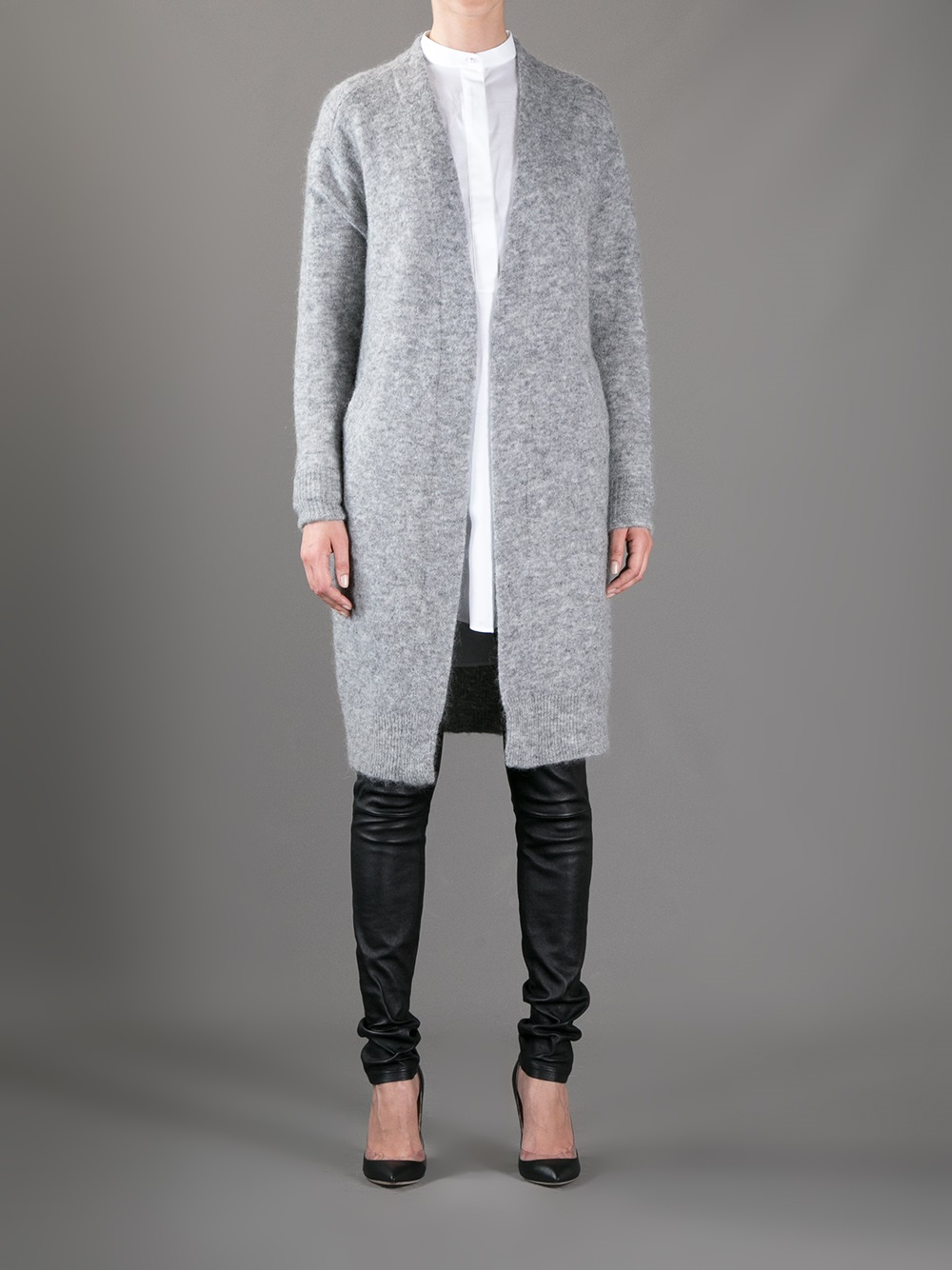 Acne studios Raya Long Cardigan in Gray | Lyst