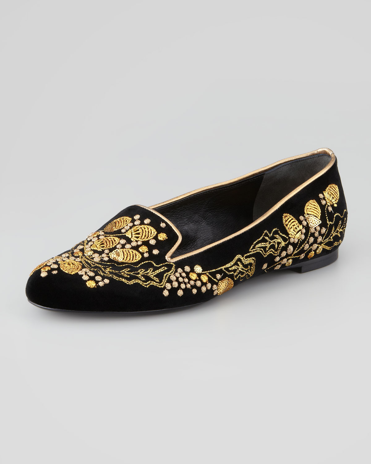 Black And Gold Slipper Shoes
