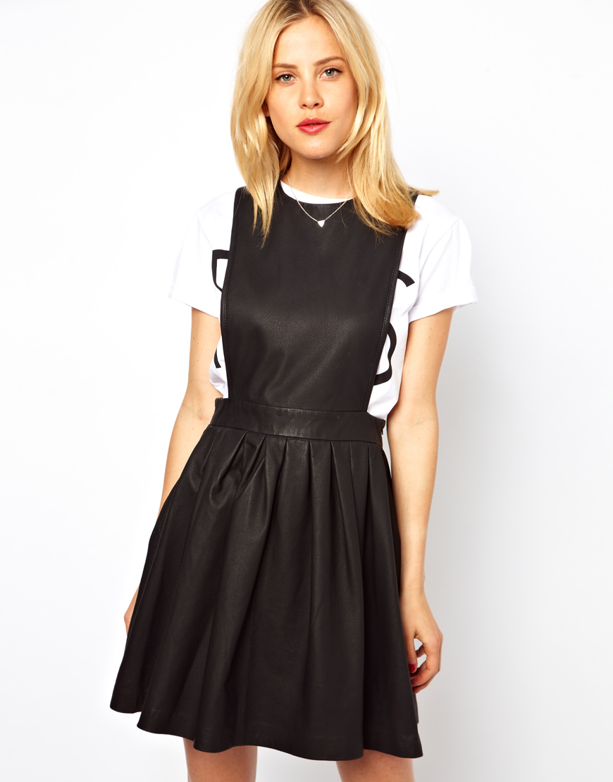 Lyst - ASOS Leather Pinafore Skater Dress in Black 7ad8a396d