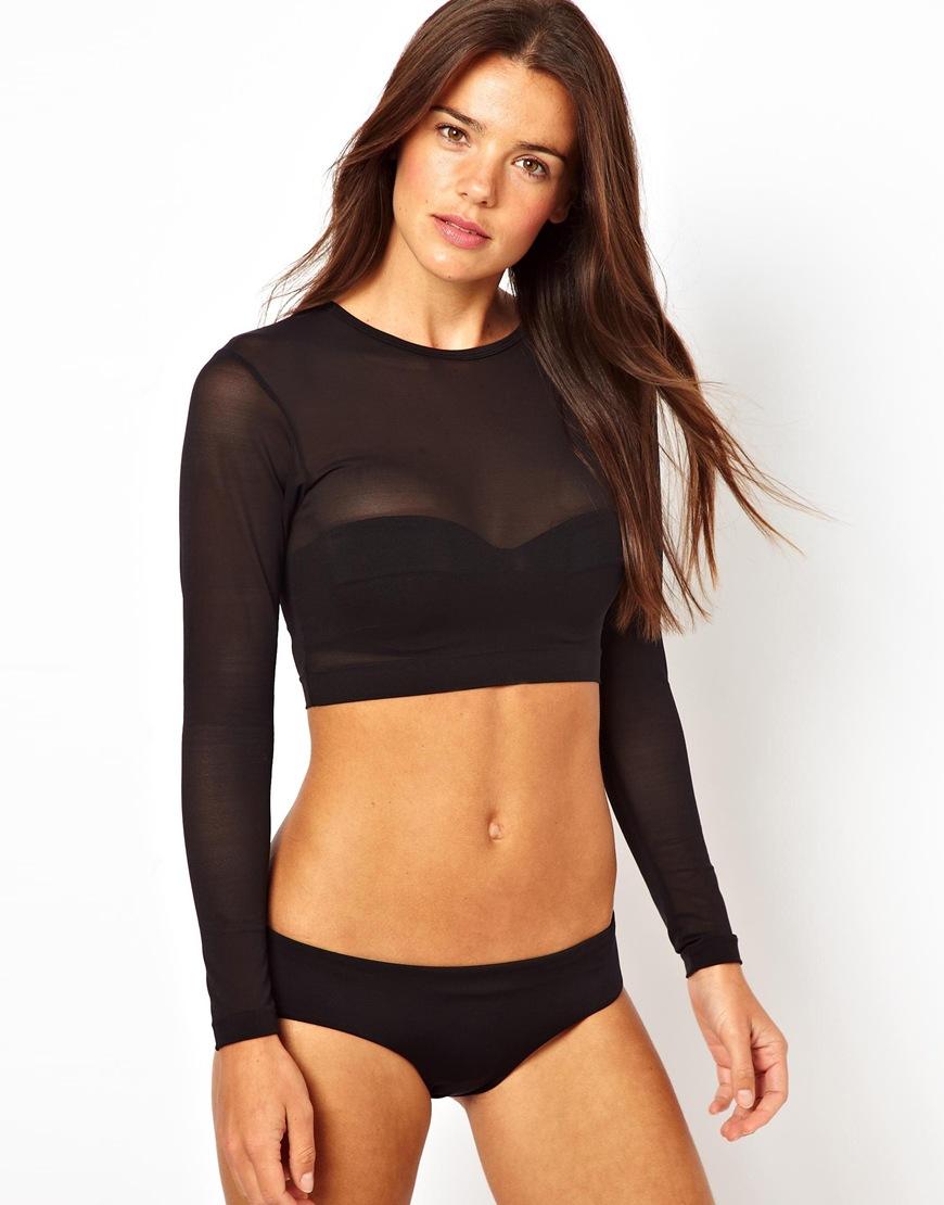 Asos Long Sleeve Mesh Crop Bikini Top In Black Lyst