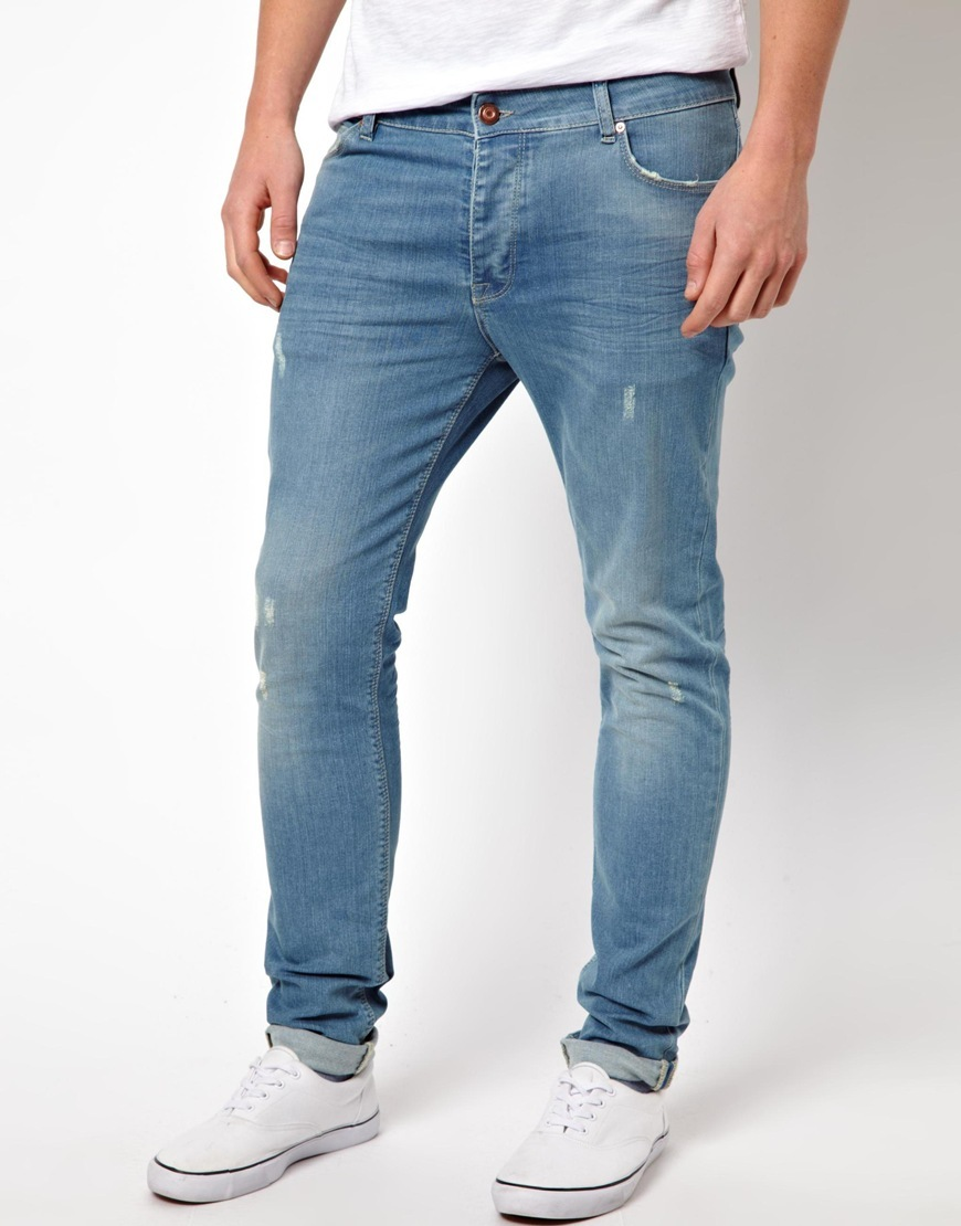 Lyst - ASOS Skinny Jeans With Worn Rips in Blue for Men 6e4ec52d2