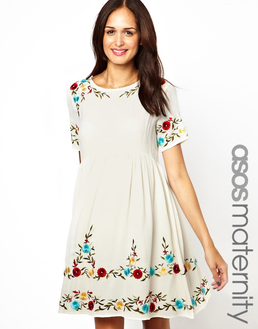 e6e06f106ea78 Sandqvist Asos Maternity Smock Dress with Embroidery in Natural - Lyst
