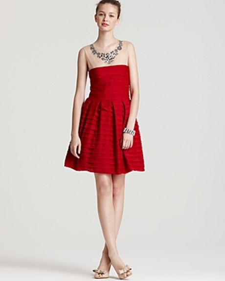 bcbgmaxazria marina tiered aline skirt dress in
