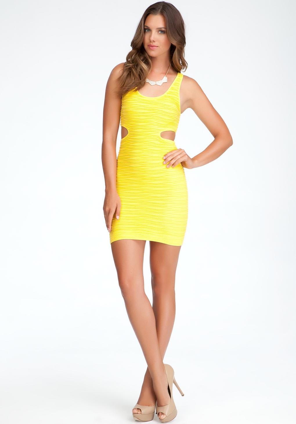Bebe Side Cutout Bodycon Tank Dress In Yellow Lyst