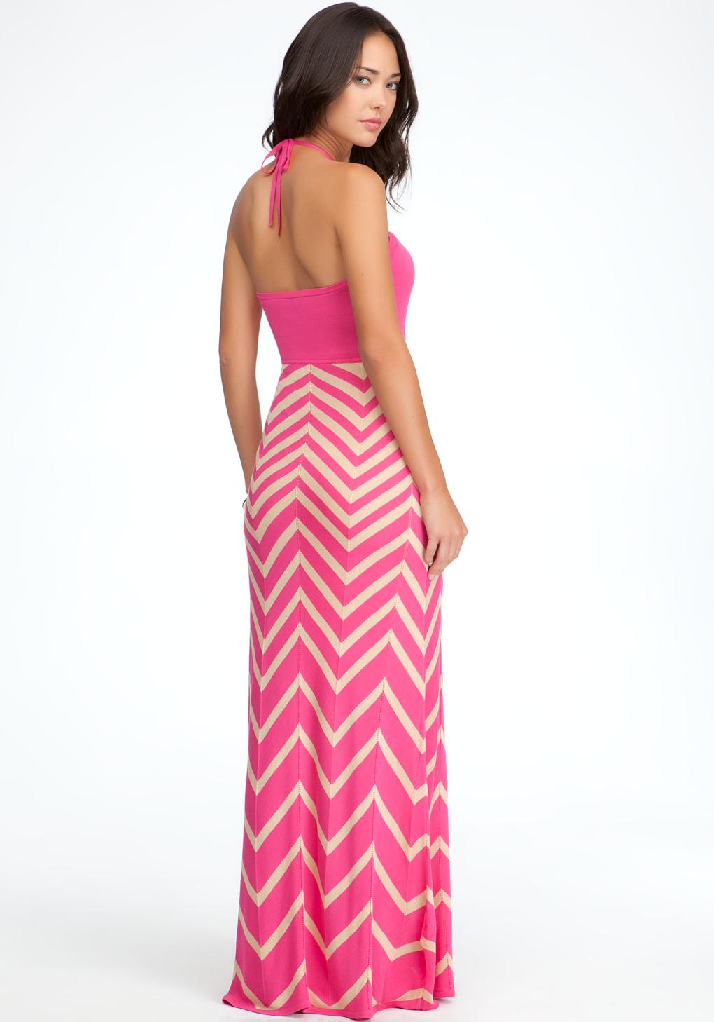 Chevron Halter Maxi Dress