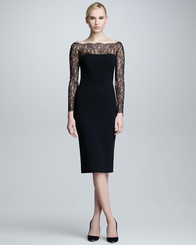 Carolina Herrera Lace Longsleeve Jersey Dress Black