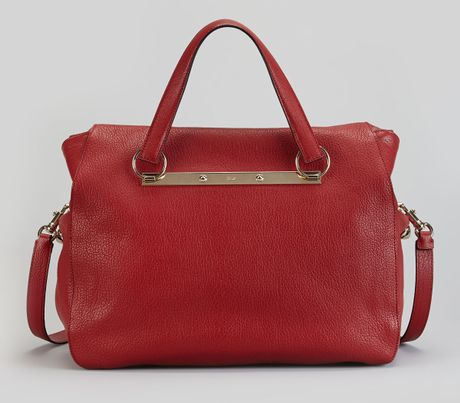 Chloe Red Pebbled Leather Bridget Shoulder Bag 44