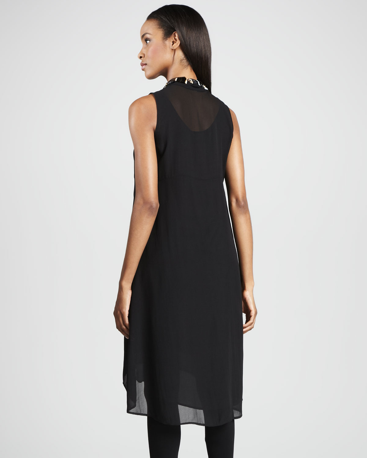 Well-known Lyst - Eileen Fisher Sheer Silk Georgette Tunic Dress in Black CG45