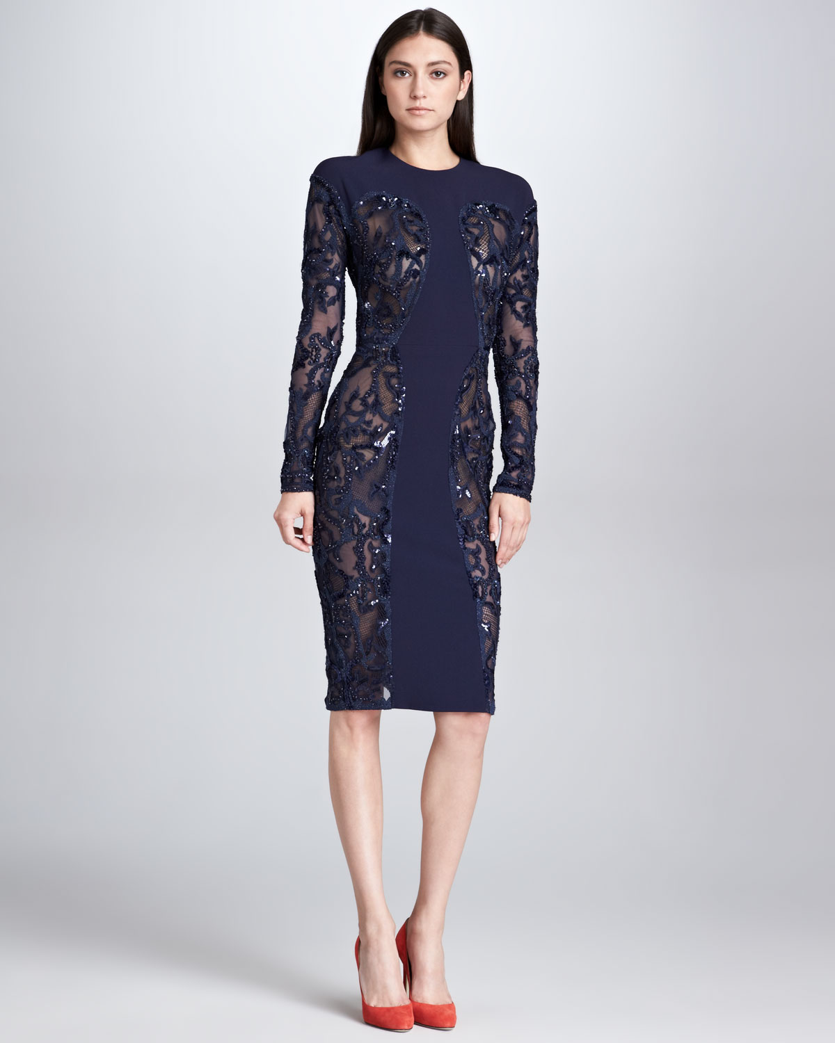 Lyst - Elie Saab Sequined Sheerpanel Dress Navy in Blue