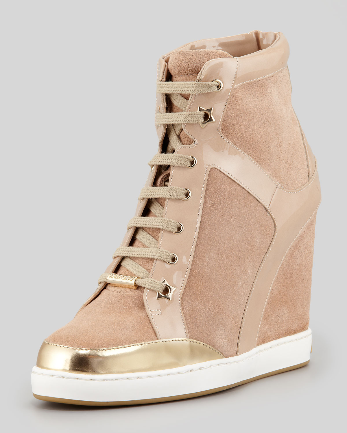 f3cc908e0885 Lyst - Jimmy Choo Panama Suedepatent Leather Wedge Sneaker Nude in ...
