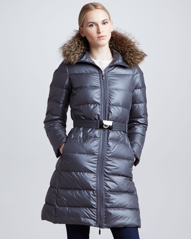 f112d89fb get moncler fur hooded metallic belted puffer jacket f782c 1995b